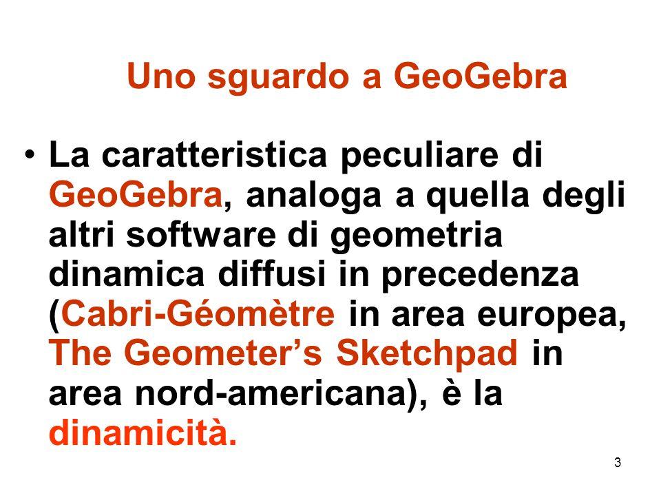 14 GeoGebra, matematica dinamica Questi risultati di ricerca didattica sono stati fondamentali per dare indicazioni sull'insegnamento della matematica con i software di geometria dinamica come GeoGebra.