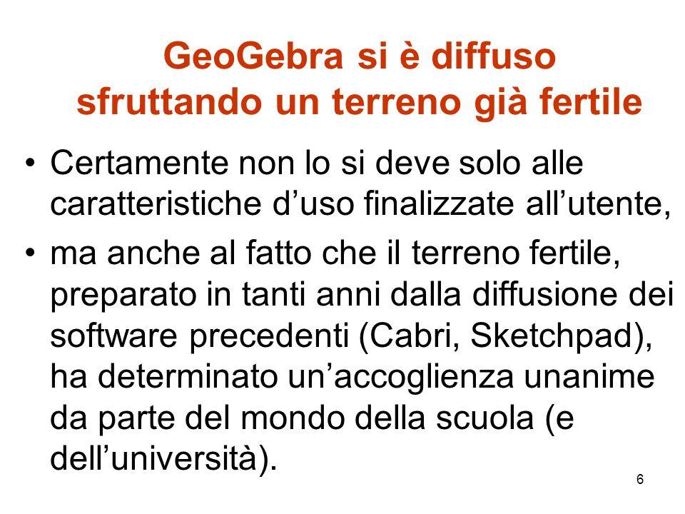 7 GeoGebra integra diversi ambienti GeoGebra cerca di andare oltre,rispetto ai software che lo hanno preceduto.