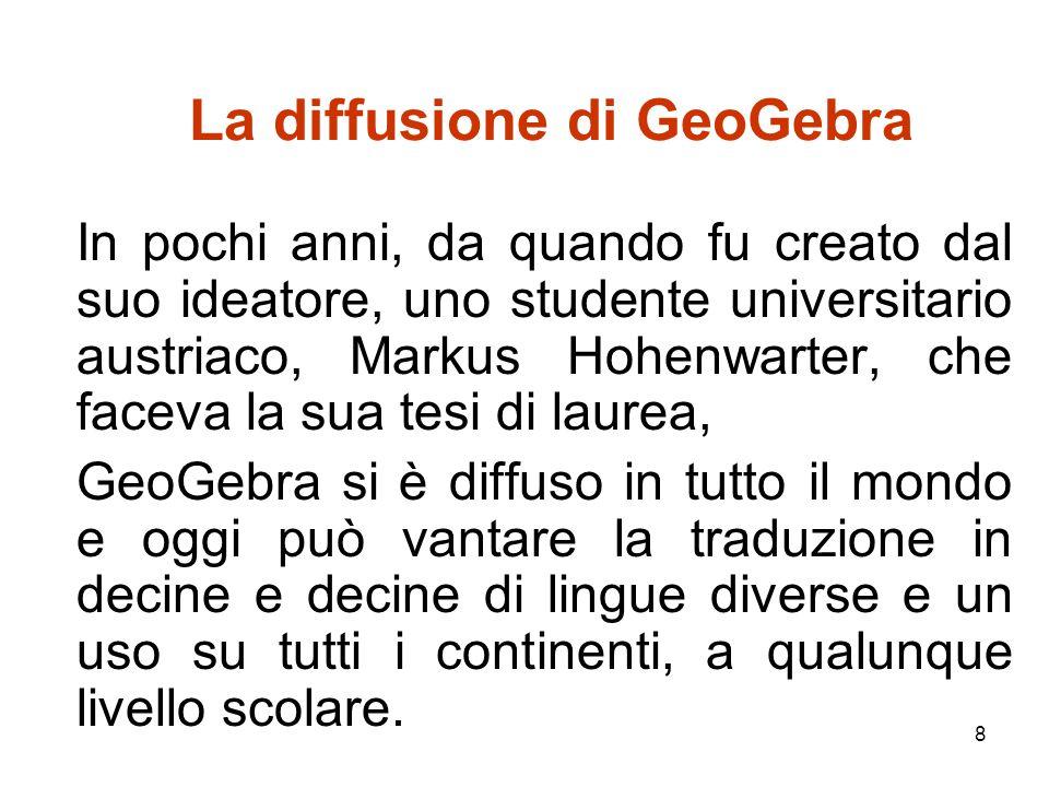 9 GeoGebra, non solo geometria dinamica Per esempio, da software di geometria dinamica, oggi GeoGebra si è esteso per incorporare un foglio di calcolo, uno strumento di manipolazione simbolico, visualizzazioni simultanee di diversi ambienti.