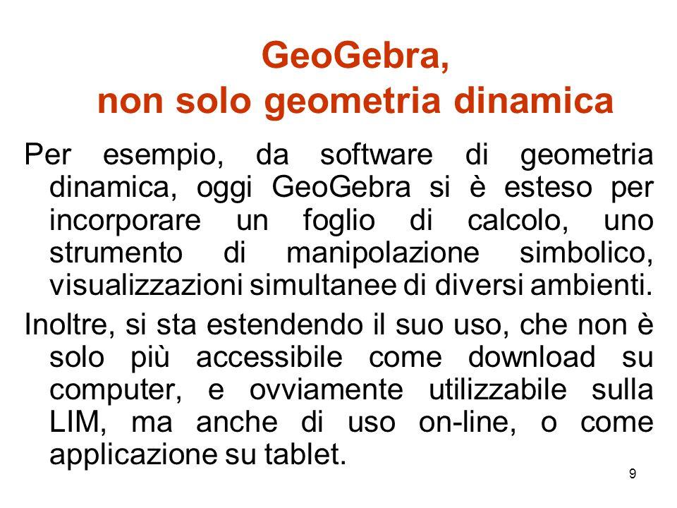 10 GeoGebra, non solo geometria dinamica Iniziata una ventina di anni fa, la ricerca internazionale in didattica della matematica con i software di geometria dinamica, oggi continua includendo anche GeoGebra, ed utilizzando filoni già consolidati e altri più nuovi.