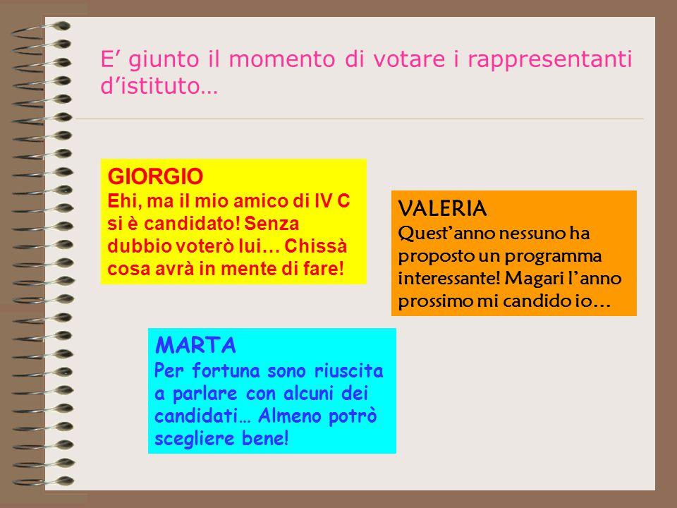 E' giunto il momento di votare i rappresentanti d'istituto… GIORGIO Ehi, ma il mio amico di IV C si è candidato.