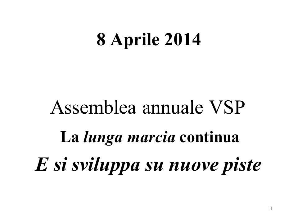 8 Aprile 2014 Assemblea annuale VSP La lunga marcia continua E si sviluppa su nuove piste 1