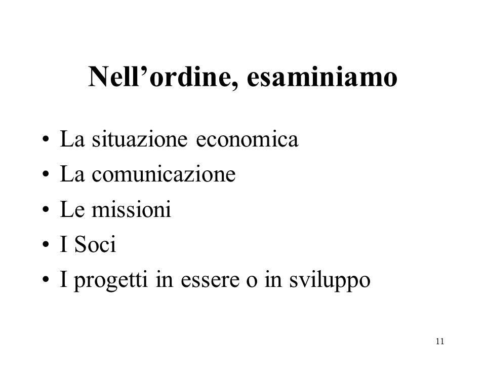 Nell'ordine, esaminiamo La situazione economica La comunicazione Le missioni I Soci I progetti in essere o in sviluppo 11