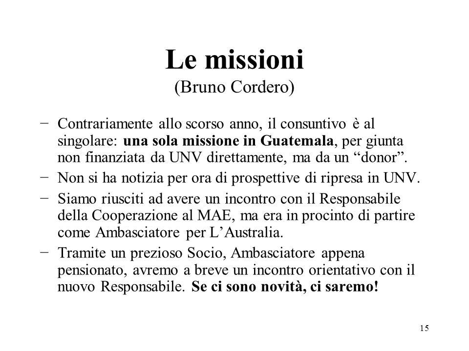 Le missioni (Bruno Cordero) −Contrariamente allo scorso anno, il consuntivo è al singolare: una sola missione in Guatemala, per giunta non finanziata da UNV direttamente, ma da un donor .