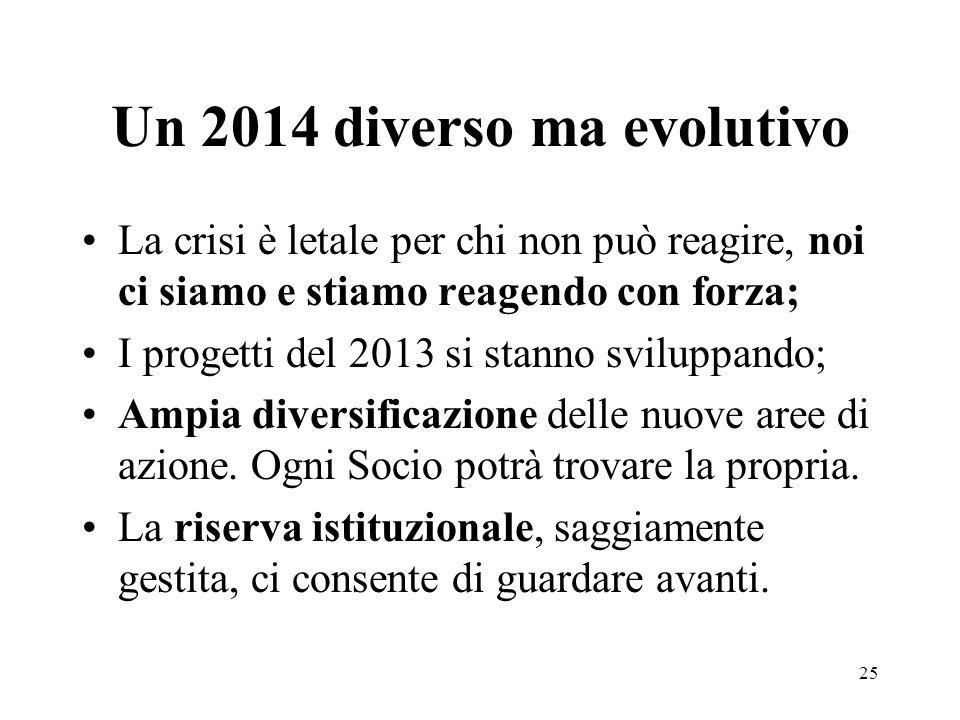 Un 2014 diverso ma evolutivo La crisi è letale per chi non può reagire, noi ci siamo e stiamo reagendo con forza; I progetti del 2013 si stanno sviluppando; Ampia diversificazione delle nuove aree di azione.