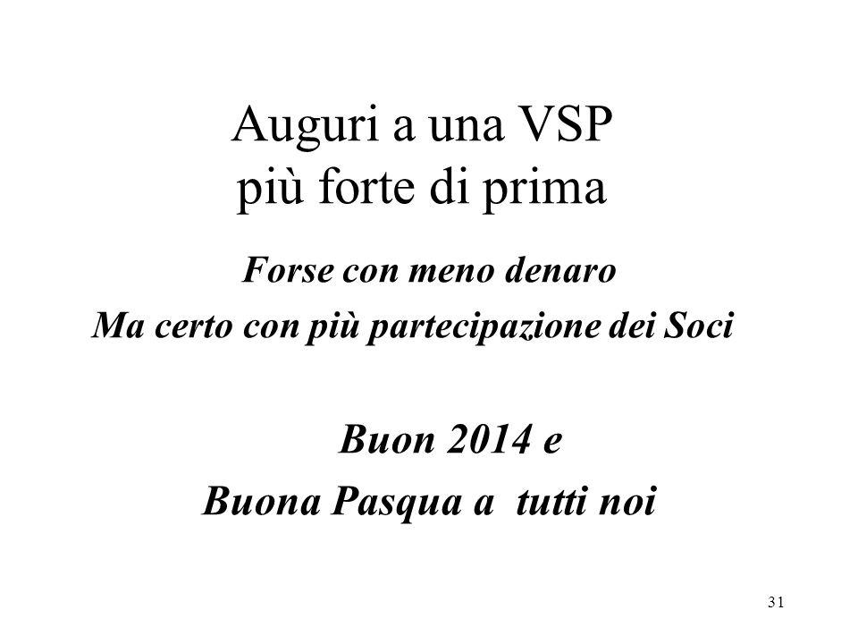Auguri a una VSP più forte di prima Forse con meno denaro Ma certo con più partecipazione dei Soci Buon 2014 e Buona Pasqua a tutti noi 31