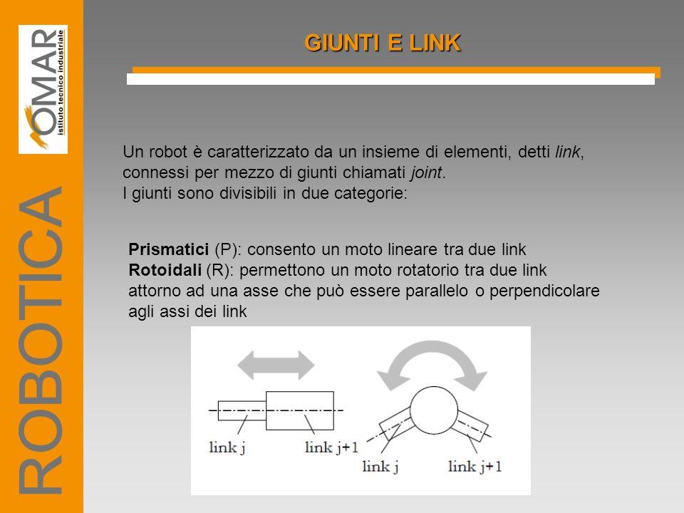 GIUNTI E LINK Un robot è caratterizzato da un insieme di elementi, detti link, connessi per mezzo di giunti chiamati joint. I giunti sono divisibili i