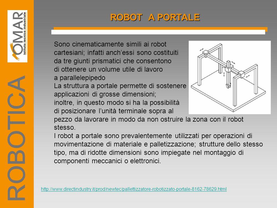 ROBOT A PORTALE Sono cinematicamente simili ai robot cartesiani; infatti anch'essi sono costituiti da tre giunti prismatici che consentono di ottenere