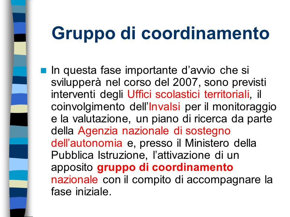 Gruppo di coordinamento In questa fase importante d'avvio che si svilupperà nel corso del 2007, sono previsti interventi degli Uffici scolastici terri