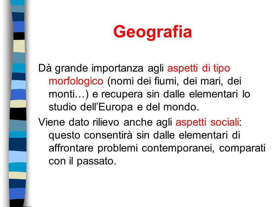 Geografia Dà grande importanza agli aspetti di tipo morfologico (nomi dei fiumi, dei mari, dei monti…) e recupera sin dalle elementari lo studio dell'