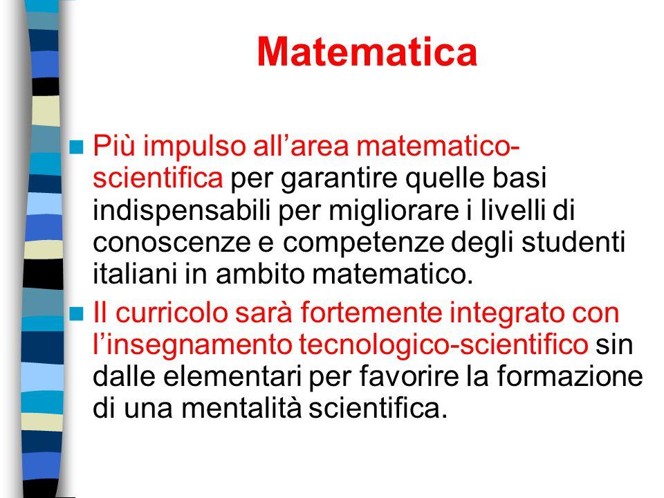 Matematica Più impulso all'area matematico- scientifica per garantire quelle basi indispensabili per migliorare i livelli di conoscenze e competenze d