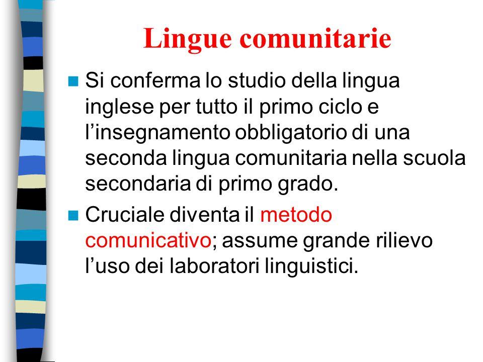 Lingue comunitarie Si conferma lo studio della lingua inglese per tutto il primo ciclo e l'insegnamento obbligatorio di una seconda lingua comunitaria