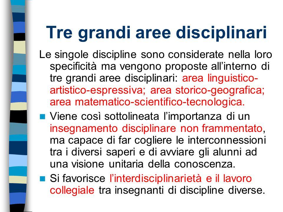 Tre grandi aree disciplinari Le singole discipline sono considerate nella loro specificità ma vengono proposte all'interno di tre grandi aree discipli