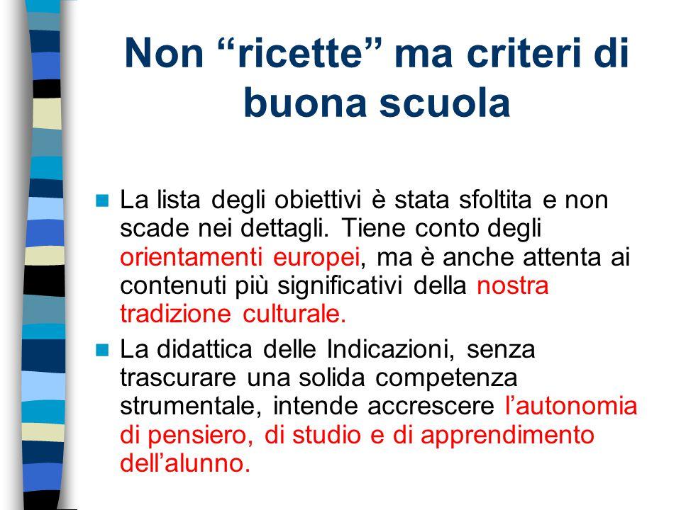 Lingua italiana Più attività di laboratorio e più valorizzazione delle biblioteche scolastiche per l'incontro con la lettura e con gli autori non solo per i testi strettamente scolastici .