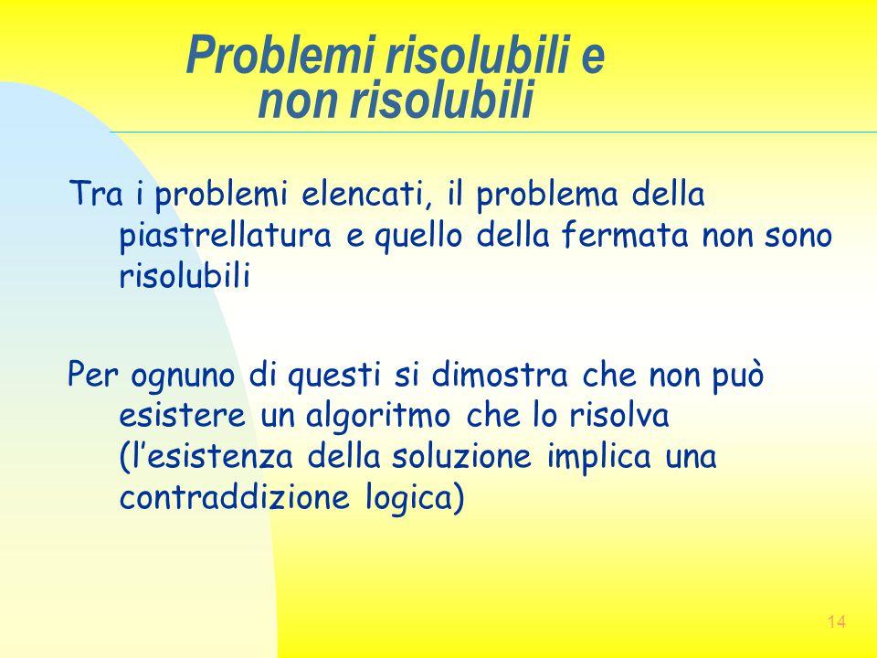 14 Problemi risolubili e non risolubili Tra i problemi elencati, il problema della piastrellatura e quello della fermata non sono risolubili Per ognun