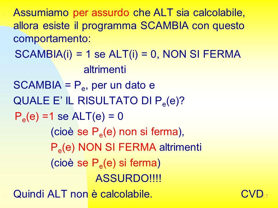 17 n Assumiamo per assurdo che ALT sia calcolabile, allora esiste il programma SCAMBIA con questo comportamento: SCAMBIA(i) = 1 se ALT(i) = 0, NON SI