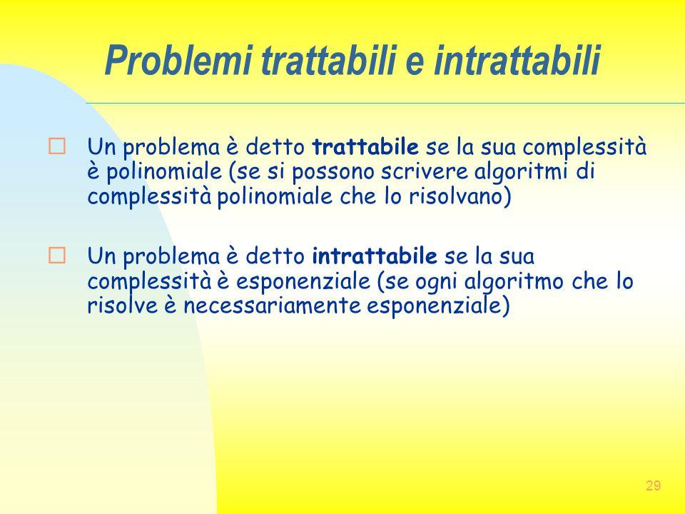 29 Problemi trattabili e intrattabili  Un problema è detto trattabile se la sua complessità è polinomiale (se si possono scrivere algoritmi di comple