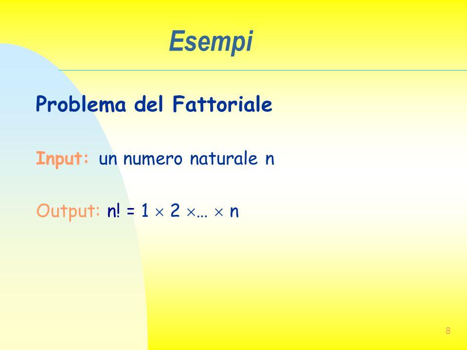 8 Esempi Problema del Fattoriale Input: un numero naturale n Output: n! = 1  2  …  n