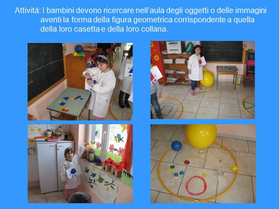 Attività: I bambini devono ricercare nell'aula degli oggetti o delle immagini aventi la forma della figura geometrica corrispondente a quella della lo