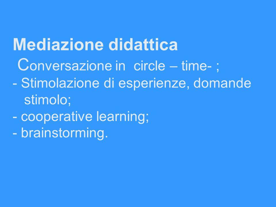 Mediazione didattica C onversazione in circle – time- ; - Stimolazione di esperienze, domande stimolo; - cooperative learning; - brainstorming.
