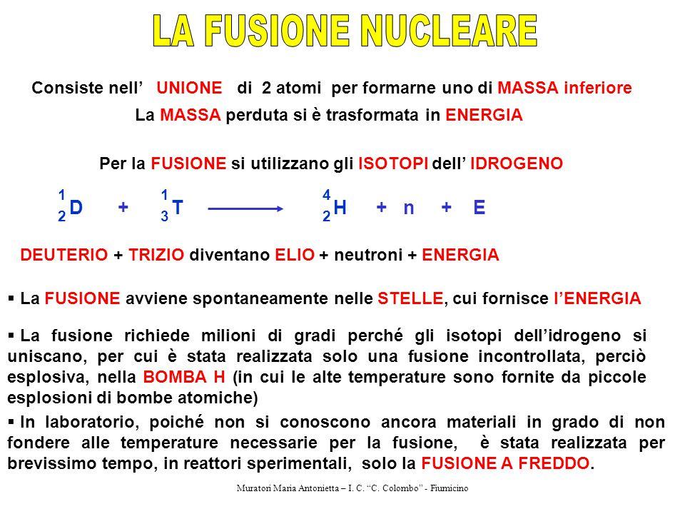 Consiste nell' UNIONE di 2 atomi per formarne uno di MASSA inferiore La MASSA perduta si è trasformata in ENERGIA Per la FUSIONE si utilizzano gli ISO