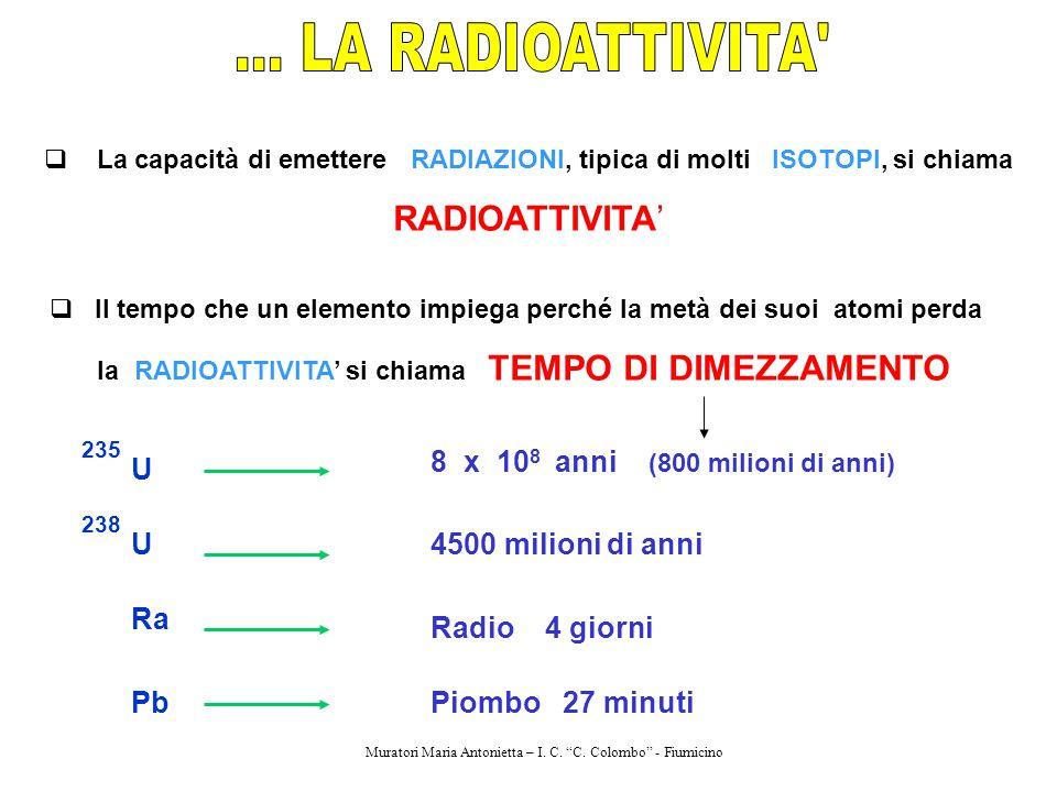  La capacità di emettere RADIAZIONI, tipica di molti ISOTOPI, si chiama RADIOATTIVITA'  Il tempo che un elemento impiega perché la metà dei suoi ato