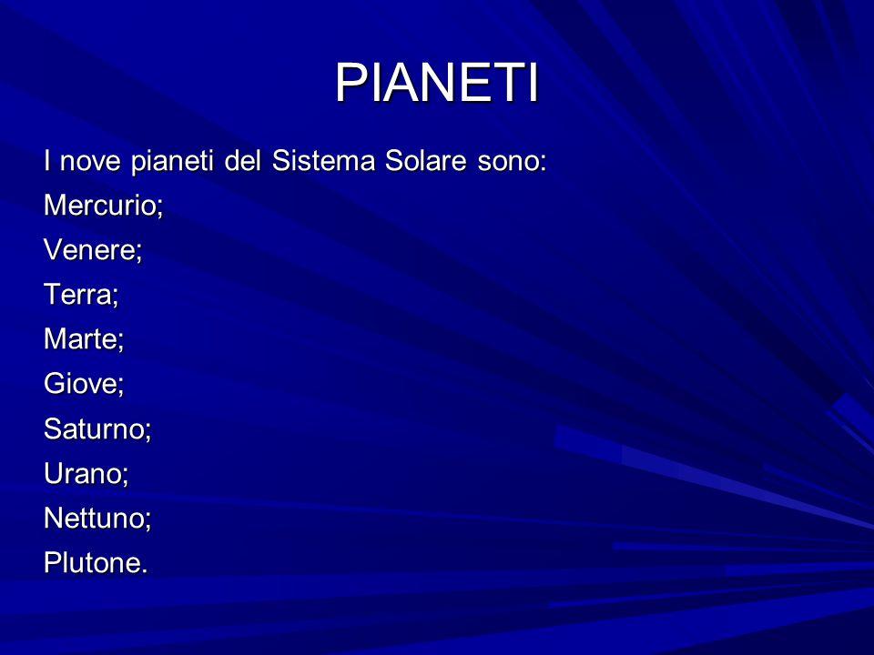 PIANETI I nove pianeti del Sistema Solare sono: Mercurio;Venere;Terra;Marte;Giove;Saturno;Urano;Nettuno;Plutone.