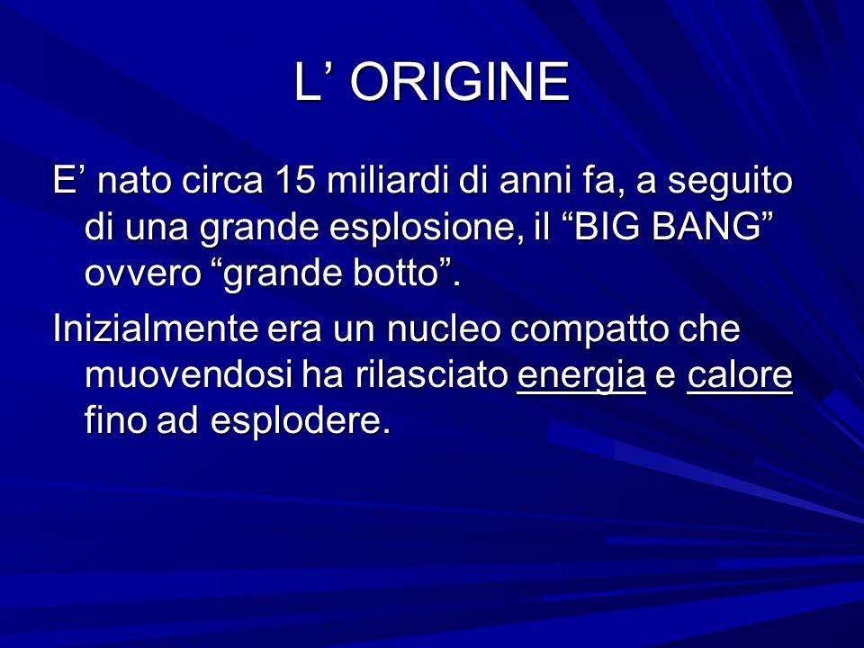 """L' ORIGINE E' nato circa 15 miliardi di anni fa, a seguito di una grande esplosione, il """"BIG BANG"""" ovvero """"grande botto"""". Inizialmente era un nucleo c"""