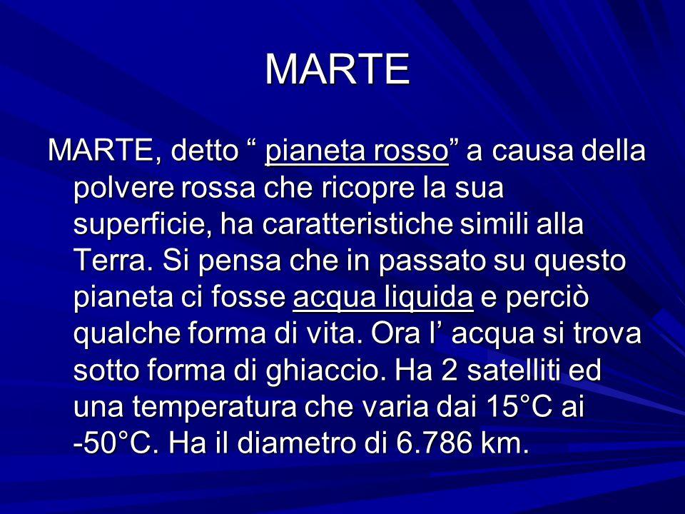 """MARTE MARTE, detto """" pianeta rosso"""" a causa della polvere rossa che ricopre la sua superficie, ha caratteristiche simili alla Terra. Si pensa che in p"""