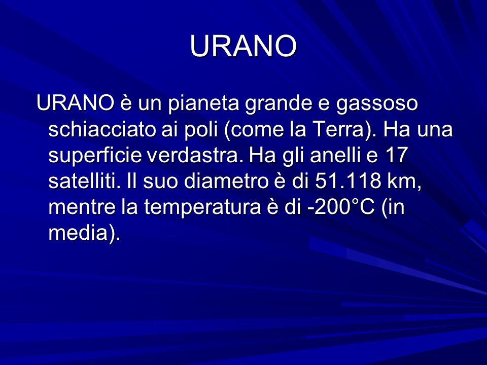 URANO URANO è un pianeta grande e gassoso schiacciato ai poli (come la Terra). Ha una superficie verdastra. Ha gli anelli e 17 satelliti. Il suo diame