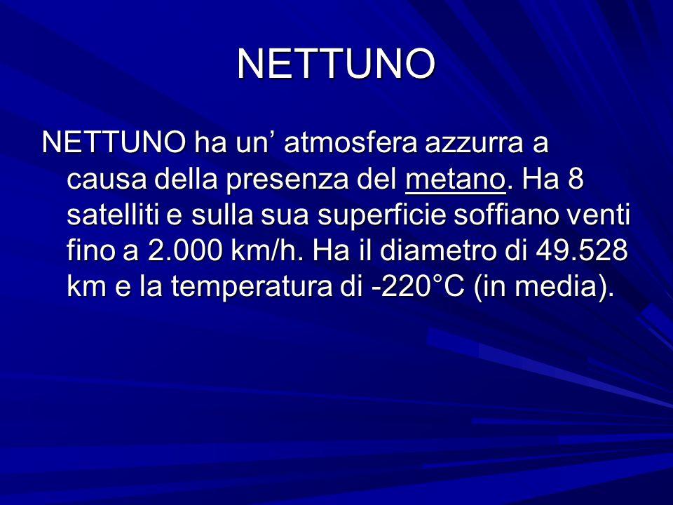 NETTUNO NETTUNO ha un' atmosfera azzurra a causa della presenza del metano. Ha 8 satelliti e sulla sua superficie soffiano venti fino a 2.000 km/h. Ha