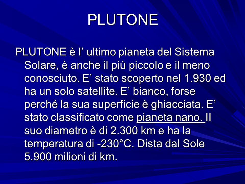 PLUTONE PLUTONE è l' ultimo pianeta del Sistema Solare, è anche il più piccolo e il meno conosciuto. E' stato scoperto nel 1.930 ed ha un solo satelli