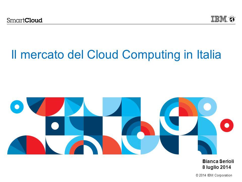 © 2014 IBM Corporation Il mercato del Cloud Computing in Italia Bianca Serioli 8 luglio 2014