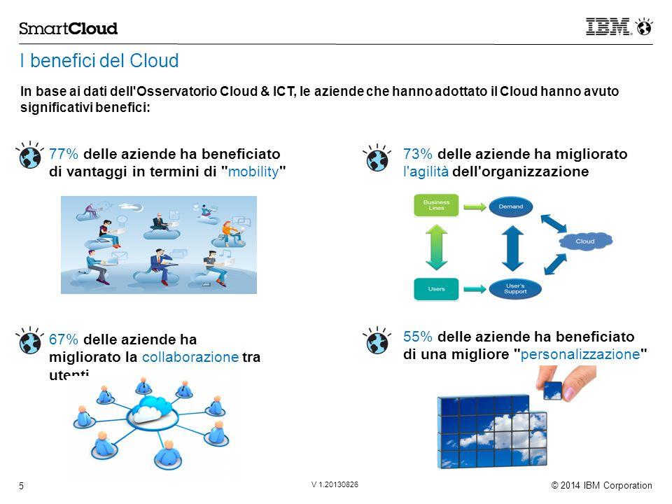 © 2014 IBM Corporation 5 V 1.20130826 I benefici del Cloud 55% delle aziende ha beneficiato di una migliore personalizzazione In base ai dati dell Osservatorio Cloud & ICT, le aziende che hanno adottato il Cloud hanno avuto significativi benefici: 77% delle aziende ha beneficiato di vantaggi in termini di mobility 73% delle aziende ha migliorato l agilità dell organizzazione 67% delle aziende ha migliorato la collaborazione tra utenti