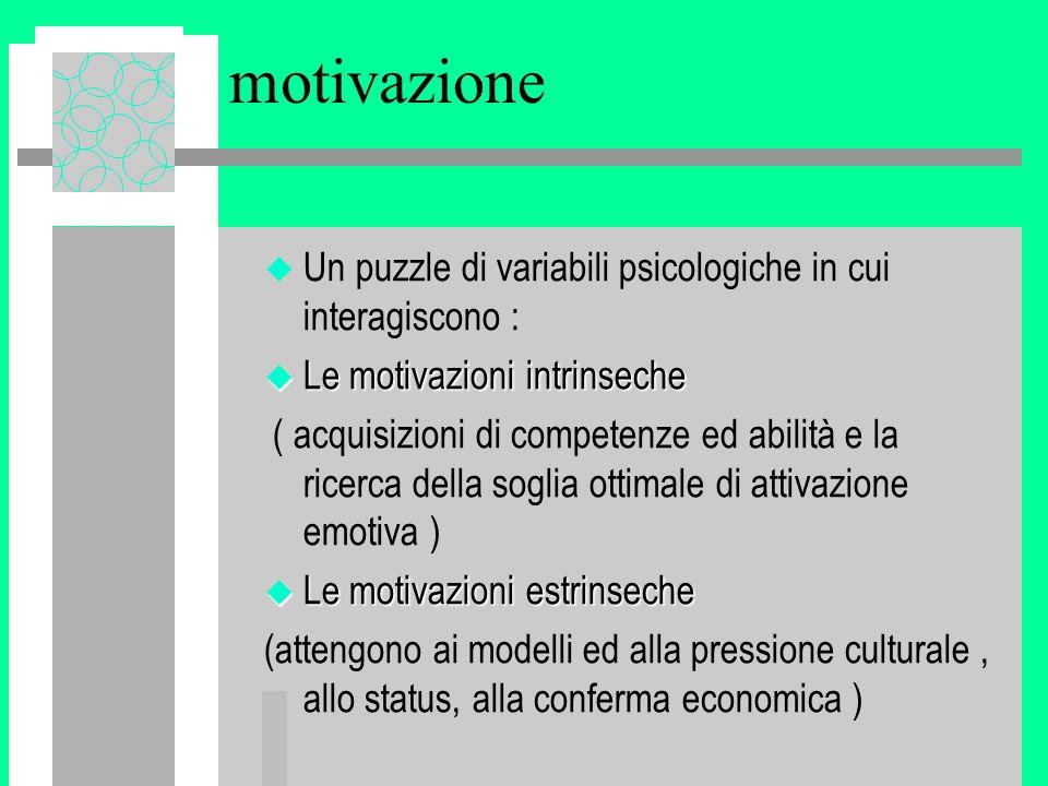motivazione u Un puzzle di variabili psicologiche in cui interagiscono : u Le motivazioni intrinseche ( acquisizioni di competenze ed abilità e la ricerca della soglia ottimale di attivazione emotiva ) u Le motivazioni estrinseche (attengono ai modelli ed alla pressione culturale, allo status, alla conferma economica )