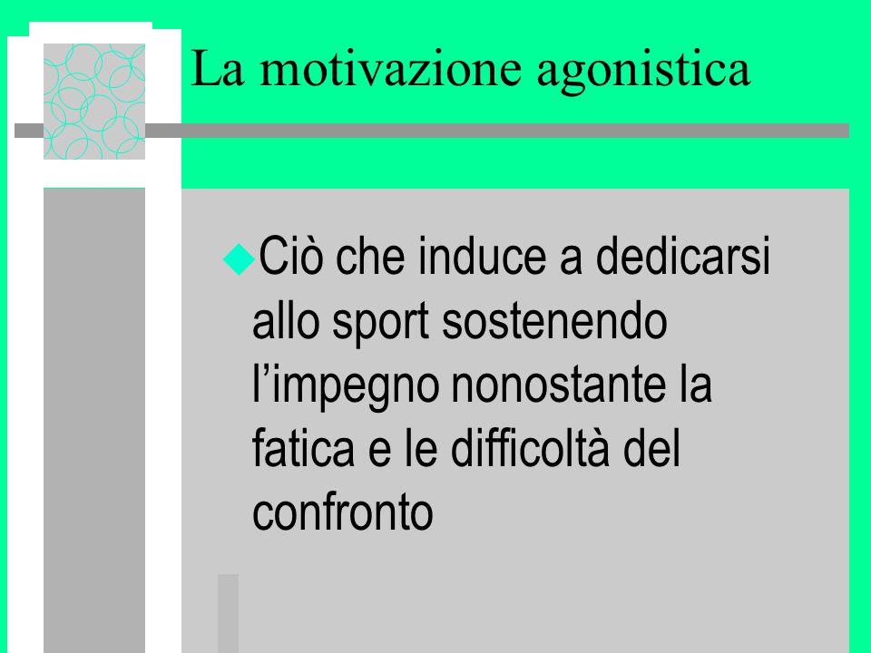 La motivazione agonistica u Ciò che induce a dedicarsi allo sport sostenendo l'impegno nonostante la fatica e le difficoltà del confronto