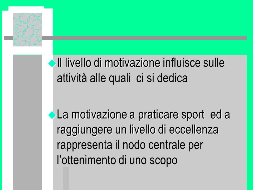 u Il livello di motivazione u Il livello di motivazione influisce sulle attività alle quali ci si dedica u La motivazione a praticare sport ed a raggiungere un livello di eccellenza u La motivazione a praticare sport ed a raggiungere un livello di eccellenza rappresenta il nodo centrale per l'ottenimento di uno scopo