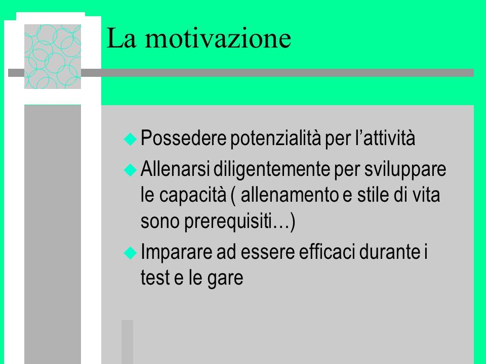La motivazione u Possedere potenzialità per l'attività u Allenarsi diligentemente per sviluppare le capacità ( allenamento e stile di vita sono prerequisiti…) u Imparare ad essere efficaci durante i test e le gare