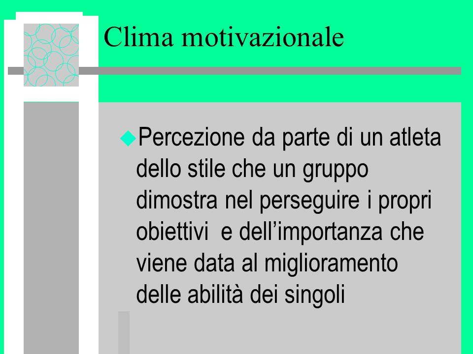 Clima motivazionale u Percezione da parte di un atleta dello stile che un gruppo dimostra nel perseguire i propri obiettivi e dell'importanza che viene data al miglioramento delle abilità dei singoli