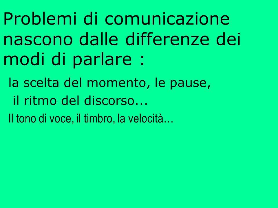 Problemi di comunicazione nascono dalle differenze dei modi di parlare : la scelta del momento, le pause, il ritmo del discorso...
