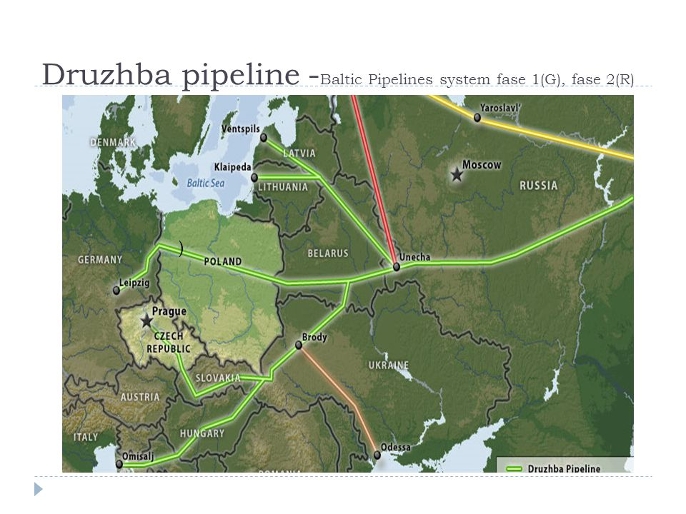 Druzhba pipeline - Baltic Pipelines system fase 1(G), fase 2(R) )