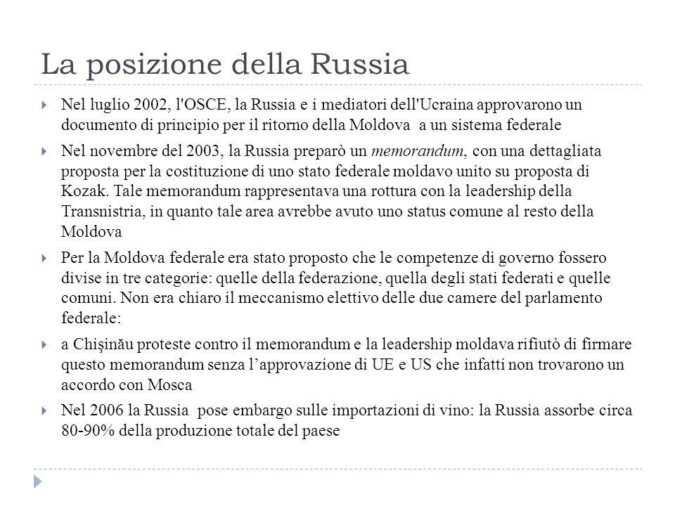 La posizione della Russia  Nel luglio 2002, l OSCE, la Russia e i mediatori dell Ucraina approvarono un documento di principio per il ritorno della Moldova a un sistema federale  Nel novembre del 2003, la Russia preparò un memorandum, con una dettagliata proposta per la costituzione di uno stato federale moldavo unito su proposta di Kozak.
