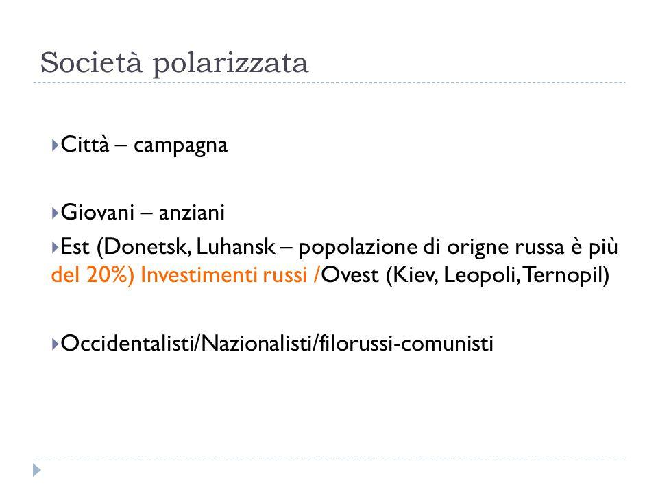 Società polarizzata  Città – campagna  Giovani – anziani  Est (Donetsk, Luhansk – popolazione di origne russa è più del 20%) Investimenti russi /Ovest (Kiev, Leopoli, Ternopil)  Occidentalisti/Nazionalisti/filorussi-comunisti