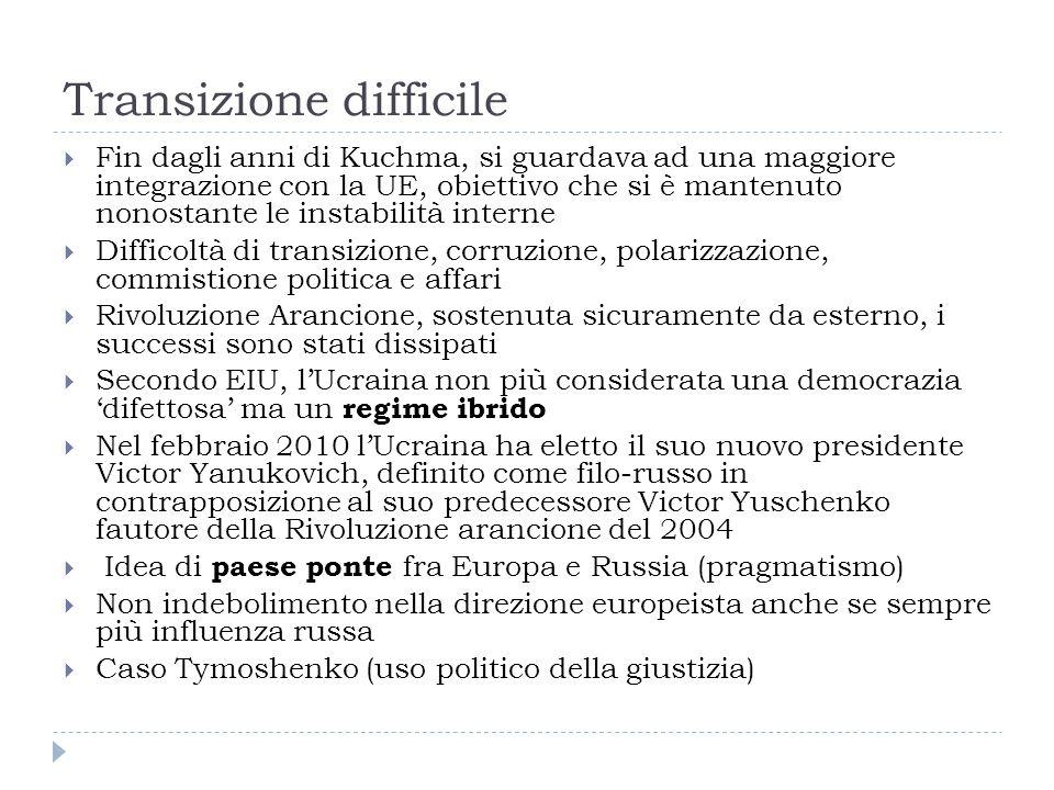 Transizione difficile  Fin dagli anni di Kuchma, si guardava ad una maggiore integrazione con la UE, obiettivo che si è mantenuto nonostante le instabilità interne  Difficoltà di transizione, corruzione, polarizzazione, commistione politica e affari  Rivoluzione Arancione, sostenuta sicuramente da esterno, i successi sono stati dissipati  Secondo EIU, l'Ucraina non più considerata una democrazia 'difettosa' ma un regime ibrido  Nel febbraio 2010 l'Ucraina ha eletto il suo nuovo presidente Victor Yanukovich, definito come filo-russo in contrapposizione al suo predecessore Victor Yuschenko fautore della Rivoluzione arancione del 2004  Idea di paese ponte fra Europa e Russia (pragmatismo)  Non indebolimento nella direzione europeista anche se sempre più influenza russa  Caso Tymoshenko (uso politico della giustizia)