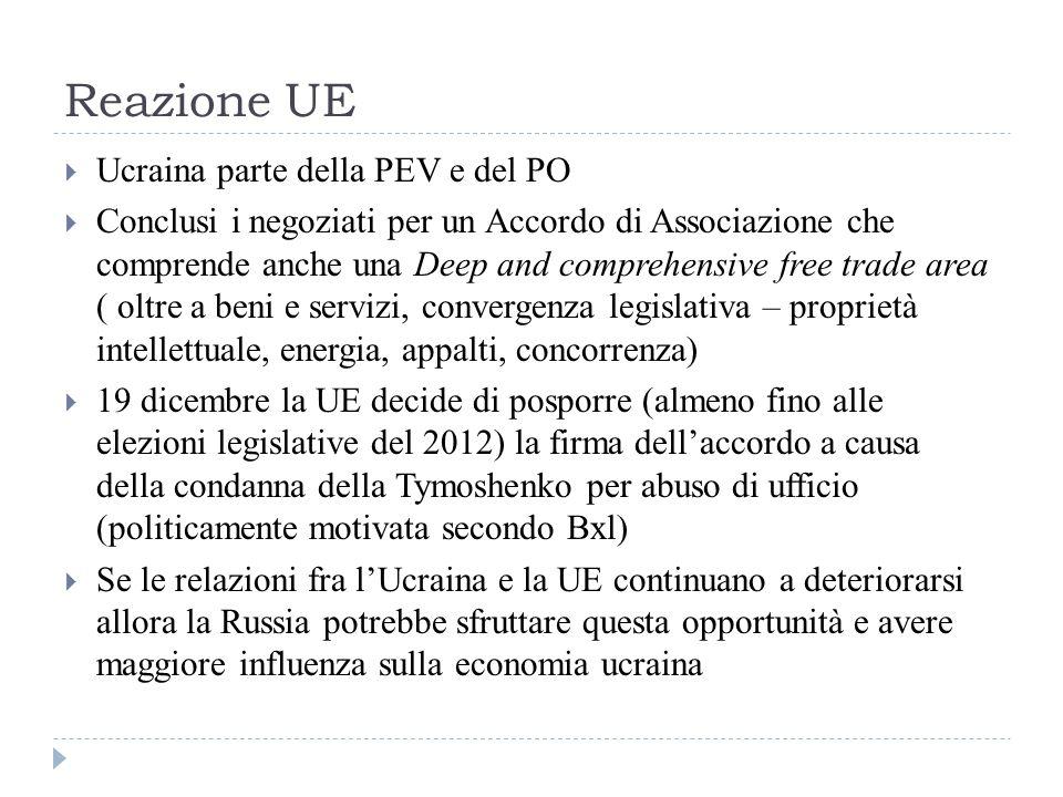 Reazione UE  Ucraina parte della PEV e del PO  Conclusi i negoziati per un Accordo di Associazione che comprende anche una Deep and comprehensive free trade area ( oltre a beni e servizi, convergenza legislativa – proprietà intellettuale, energia, appalti, concorrenza)  19 dicembre la UE decide di posporre (almeno fino alle elezioni legislative del 2012) la firma dell'accordo a causa della condanna della Tymoshenko per abuso di ufficio (politicamente motivata secondo Bxl)  Se le relazioni fra l'Ucraina e la UE continuano a deteriorarsi allora la Russia potrebbe sfruttare questa opportunità e avere maggiore influenza sulla economia ucraina