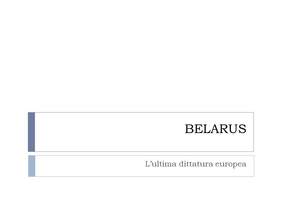 Né transizione né trasformazione  La Belarus è tra i paesi dello spazio post-sovietico che non ha mai intrapreso un processo di trasformazione: economia ancora largamente centralizzata, non transizione alla democrazia, non alternanza al potere  Lukashenka al potere dal 1991, con crescente centralizzazione del potere1996: la competizione politica è estremamente ridotta, limiti ai partiti di opposizione e controllo sui mass media ed il sistema giudiziario.