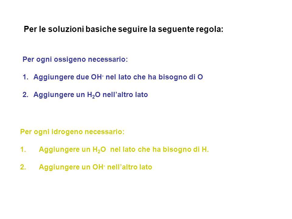 Per le soluzioni basiche seguire la seguente regola: Per ogni ossigeno necessario: 1.Aggiungere due OH - nel lato che ha bisogno di O 2.Aggiungere un H 2 O nell'altro lato Per ogni idrogeno necessario: 1.
