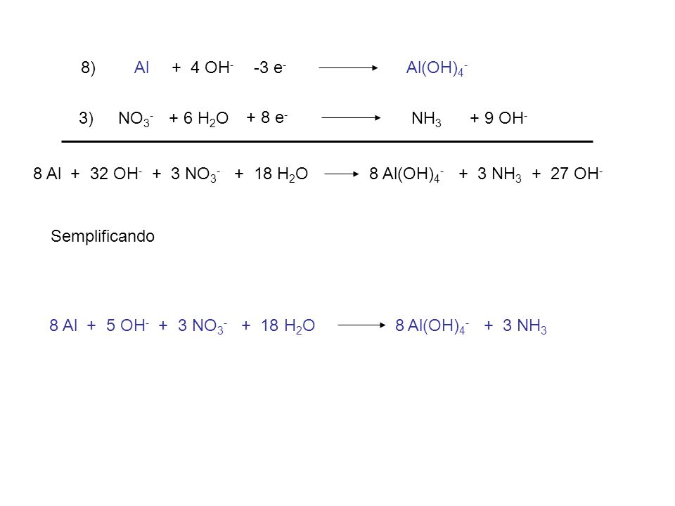 Al Al(OH) 4 - + 4 OH - -3 e - NO 3 - NH 3 + 9 OH - + 6 H 2 O + 8 e - 8) 3) 8 Al + 32 OH - + 3 NO 3 - + 18 H 2 O 8 Al(OH) 4 - + 3 NH 3 + 27 OH - Semplificando 8 Al + 5 OH - + 3 NO 3 - + 18 H 2 O 8 Al(OH) 4 - + 3 NH 3