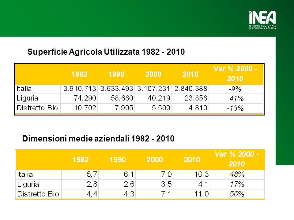 Superficie Agricola Utilizzata 1982 - 2010 Dimensioni medie aziendali 1982 - 2010