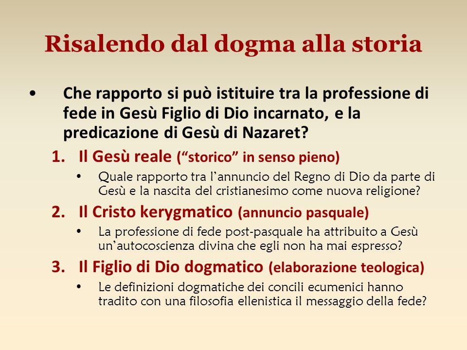 Risalendo dal dogma alla storia Che rapporto si può istituire tra la professione di fede in Gesù Figlio di Dio incarnato, e la predicazione di Gesù di Nazaret.